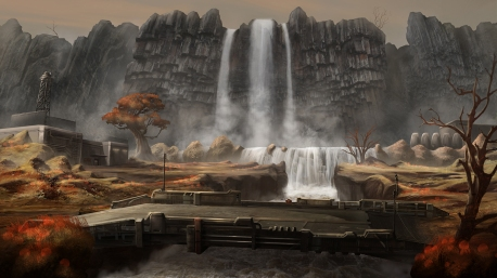 """Black Falls"" Background Illustration - ""Bridge"""
