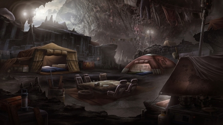 """Black Falls"" Background Illustration - ""Cave"""